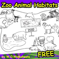 Free Zoo Animal Habitats Coloring Page showing habitats. You may also be interested inZoo Animal Habitat Pack Zoo Activities Preschool, Zoo Coloring Pages, Zoo Map, Animal Worksheets, Animal Habitats, Zoo Animals, Teacher Resources, Eric Carle, Teaching