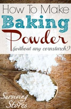 I know I'll need this someday -- Yes, you can make homemade baking powder in seconds with this super easy recipe! Homemade Baking Powder Recipe Ingredients: 1 part Baking Soda 2 parts Cream Of Tartar Directions: Mix together! Make Baking Powder, Homemade Baking Powder, Homemade Spices, Homemade Seasonings, How To Make Homemade, Substitute For Baking Powder, Homemade Dry Mixes, Corn Free Baking Powder Recipe, Simple Cake Recipe Without Baking Powder