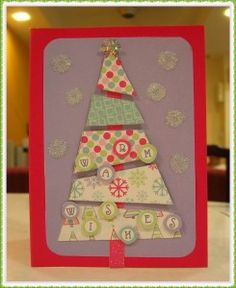 We can use our left-over Christmas scrap paper to make home-made Christmas cards.