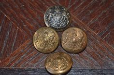 Antique Brass Buttons English Military Crest Set of 4