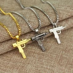 Engraved Hip Hop For Supreme Gun Shape Uzi Pendant Fine Quality Necklace Chain Popular Fashion Jewelry for Women Men Best Gifts