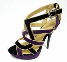 Purple and Black Sandal Stiletto Heels Size 10 #Liliana #Stilettos