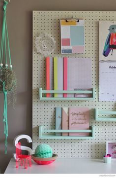 Bondville: Flexible kid's study space with pegboard and IKEA spice rack movable shelves. Craft Room Storage, Room Organization, Storage Spaces, Craft Rooms, Tool Storage, Office Storage, Bedroom Organisation, Organization Quotes, Paper Storage