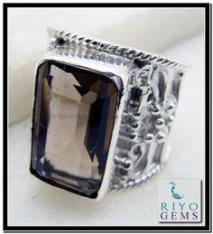 Smoky Quartz Silver Ring www.riyogems.com Riyo Gems