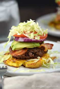 These gluten-free Smashed Potato Burgers are perfect when you can't eat the bun, and have become my new favorite Whole 30 meal.