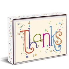 """Rhapsody Thanks 3"""" x 4"""" Folded Notes by Graphique de France. 10 elegant cards with envelopes, embellished with gold foil. $10.00"""