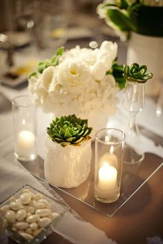 Wedding Decor - Succulents reception wedding flowers,  wedding decor, wedding flower centerpiece, wedding flower arrangement, add pic source on comment and we will update it. www.myfloweraffair.com can create this beautiful wedding flower look.
