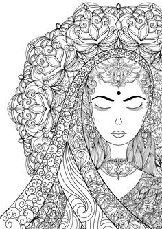 Coloring Pages for Adult Indian Woman Adult por AnnaWiltonArt