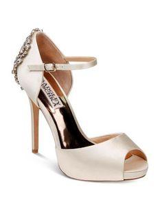 Badgley Mischka Dawn Embellished Satin Ankle Strap High Heel Pumps | Bloomingdale's
