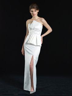 Duchess satin strapless gown