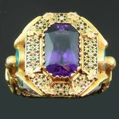 Gold Victorian Bishops ring with stunning enamel work and hidden ring with stalking wolf (image 2 of 13)