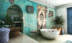 15 Fabulous Moroccan Room Decoration Ideas - Moroccan interior is very exotic with the combination of strong colors for the accents and layers o - Moroccan Bathroom, Moroccan Room, Moroccan Interiors, Moroccan Decor, Moroccan Lanterns, Moroccan Kitchen, Boho Bathroom, Design Marocain, Style Marocain