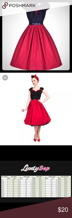 """Rita' Rockabilly 50's Inspired Pinup Dress Warn once. Dress features:  Made from a good quality stretch cotton fabric Wide flared skirt with box pleats Flattering sweetheart neckline Slight ruching to bust area Decorative buttons on bodice Feminine cap sleeves Matching removable belt Lined bodice Hidden back zip A 26"""" petticoat will be needed to get the look in the picture. Fabric Composition: 97% Cotton, 3% Elastane Garment Care: Machine wash (cold) Dresses Asymmetrical"""