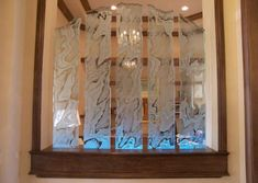 carved-glass-dividers-0022 Glass Room Divider, Room Dividers, Living Room Mirrors, Glass Design, Carving, Curtains, Elegant, Painting, Spa