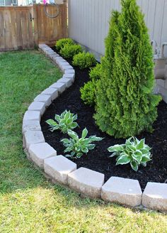 Steal these cheap and easy landscaping ideas​ for a beautiful backyard. Get our best landscaping ideas for your backyard and front yard, including landscaping design, garden ideas, flowers, and garden design. Front Garden Landscape, House Landscape, Lawn And Garden, Landscape Designs, Garden Yard Ideas, Brick Landscape Edging, Landscape Architecture, Brick Garden Edging, Border Garden