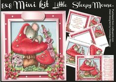 8X8 Mini Kit ,Little Sleepy Mouse,,  by Ceredwyn Macrae A lovely cute mini kit to make and give to anyone with a little sleepy mouse, this kit consists of  4 sheets ,  sheet 1, front of card and 6 greeting tags and a blank one ,  sheet 2 decoupage,  sheet 3, Incert with Verse Small Card or tag ,  sheet 4, Incert with verse left blank for your choice of verse,