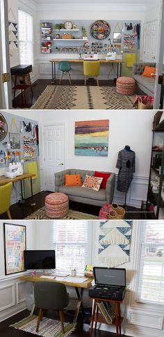 Love the hexagon honeycomb shelf and the pegboard and comfy couch area. creative home office - craft room - sewing room - http://AndreasNotebook.com