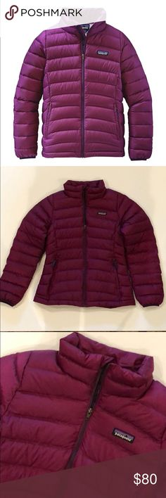 Patagonia Down Sweater Jacket PRODUCT DETAILS FEATURES:  Style: Girls Sweater jacket  Colour: Violet Red Material: Polyester/Duckdown Size: 12 This is new without tags! Patagonia Jackets & Coats Puffers