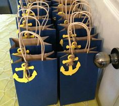 "Nautical theme party bags Cheryl to write ""Let's Party Bitches"" in white Posca Sailor Baby Showers, Anchor Baby Showers, Nautical Bridal Showers, Nautical Wedding, Sailor Theme Baby Shower, Nautical Party Favors, Nautical Gifts, Nautical Theme Baby Shower, Pirate Baby Shower Ideas"