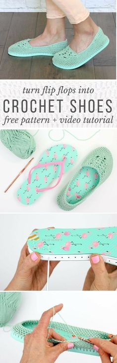 Yay summer! These lightweight crochet slippers with flip flop soles are super comfy and fun! Free crochet pattern and video tutorial! via @makeanddocrew