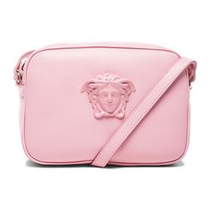 VERSACE Leather Medusa Bag (1 165 AUD) ❤ liked on Polyvore featuring bags, handbags, versace, pink, leather man bags, handbag purse, pink handbags, pink leather handbags and pink purse