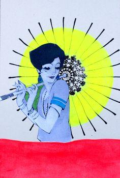 Tiziana Solito - Rain girl #collage #fluo #biro #markers #illustration