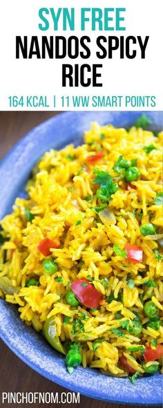 Syn Free Nandos Spicy Rice Pinch Of Nom Slimming World Recipes 164 kcal Syn Free 11 Weight Watchers Smart Points Slimming World Lunch Ideas, Vegan Slimming World, Slimming World Tips, Slimming World Dinners, Slimming World Recipes Syn Free, Slimming Eats, Slimming Word, Slimming World Breakfast Ideas Quick, Syn Free Food