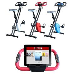 Foldable Magnetic Exercise X Bike For Cardio Fitness Workout Weight Loss Body Tine Cycle Bicycle Folding Home Cycling Machine with iPad / Samsung / Tablet Holder- White