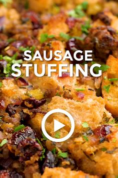 Sausage Stuffing by oh sweet basil. This easy recipe is a great idea for tonight. Best Dinner Recipes, Quick Recipes, Quick Meals, Brunch Recipes, Greek Recipes, Asian Recipes, Ethnic Recipes, Sausage Stuffing, Sweet Potato Waffles