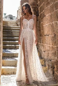 featuring - eden aharon 2019 bridal sleeveless thin strap sweetheart neckline full embellishment bustier slit skirt romantic sexy a line wedding dress sweep train lv -- Eden Aharon 2019 Wedding Dresses Sexy Wedding Dresses, Designer Wedding Dresses, Bridal Dresses, Wedding Gowns, Lace Wedding, Dress For Wedding, Sparkle Wedding, Backless Wedding, Modest Wedding