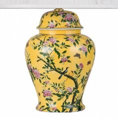 V&A Yellow Chinoiserie Large Temple Jar Lamp Base