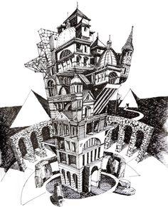 Ilustrações que desafiam a realidade arquitetônica,La Otra Babel. Image Courtesy of Juan Luis López