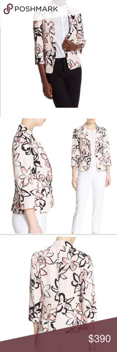 Kate spade Tiger lily print one-button blazer NWT Painterly blossoms scattered playfully over a pastel background put a fresh and feminine spin on a tailored crepe blazer in a cropped cut with three-quarter sleeves.  One-button closure. Notched collar. Three-quarter sleeves. Back vent. Lined.  Laying flat in inches buttoned; armpit to armpit=17, length 17.5, waist at button=16, sleeve=18 kate spade Jackets & Coats Blazers
