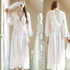 Maxi Lace Long Robe Sexy Pajamas Sleepwear Bathrobe Women Kimono Dressing Gown Nightgown Lingerie Camisola * You can find out more details at the link of the image.