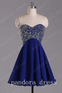 Knee-length Chiffon Short Bridesmaid Dress,Prom Dress,Evening Dresses, Royal Blue Bridesmaid Dress,cocktail dress,homecoming dress