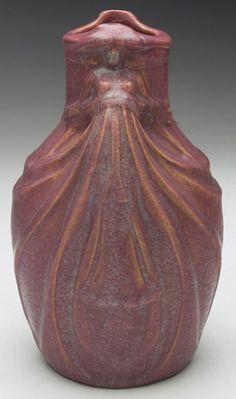 """Van Briggle Pottery 'Dos Cabesos' Vase, 1907-1912, 8""""h. www.treadwaygallery.com"""