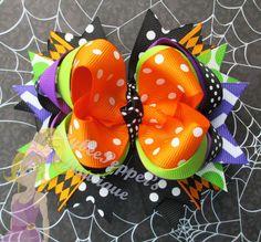 Halloween hair bow girls chevron holiday hair clip by JaybeePepper
