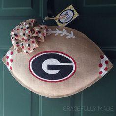 University of Georgia Burlap Football Door Hanger. Perfect for football season! UGA Burlap Wreath.