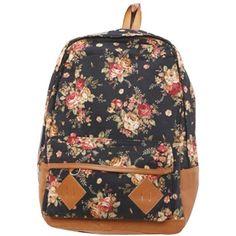 fancasen Black Color Vintage Cute Flower Pattern School Bag Book Campus Bag Backpack