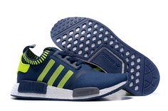 2016 Adidas Originals NMD Runner Primeknit Men Running Shoes Blue  Fluorescent green Running Shoes 48e42f522