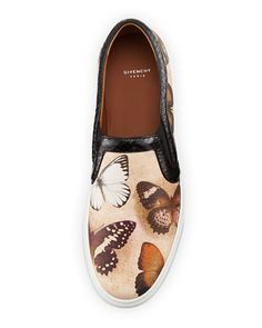 Givenchy  Butterfly-Print Leather Skate Shoe
