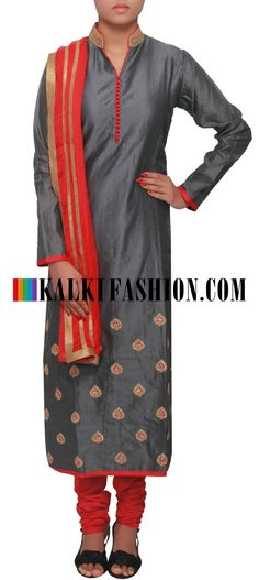 Buy Online from the link below. We ship worldwide (Free Shipping over US$100) http://www.kalkifashion.com/grey-suit-enhanced-in-embroidered-collar-only-on-kalki.html