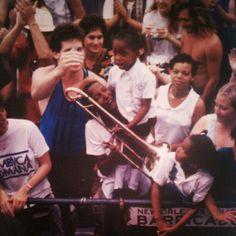 "It's Troy ""Trombone Shorty"" Andrews' birthday! Photo from Jazz & Heritage Fest archives, 1990."