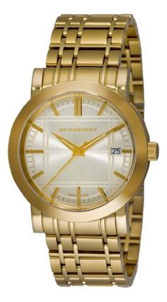 Men's Wrist Watches - Burberry Mens BU1393 Heritage GoldPlated Stainless Steel Gold Dial Watch >>> See this great product.