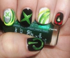 Xbox nails ....the black and red nail is about the red rings of death hahaha when your xbox dies