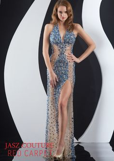 52e12dfc58 Check out the deal on Jasz Red Carpet 4973 Sheer Beaded Formal Dress at French  Novelty