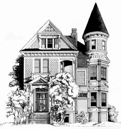 Spooky House Black And White Graphics Halloween Clipart ...