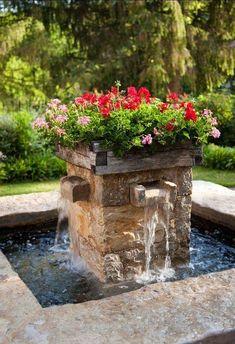 Farmhouse Landscaping, Backyard Landscaping, Landscaping Ideas, Unique Gardens, Beautiful Gardens, Beautiful Gorgeous, Beautiful Pictures, Design Fonte, Water Fountain Design