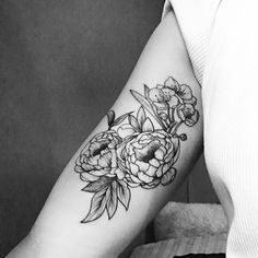 peonies and cherry blossom tattoo
