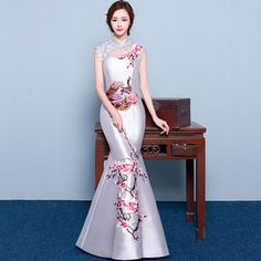 Satin Drill Embroidery Flower Peacock Cheongsam
